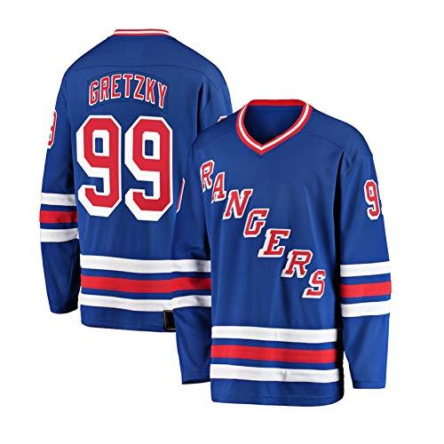 NHICR ĠRėTZKẏ ṙȧṅġerṡ Männer Eishockey Trikots Sportbekleidung Sweatshirts Langarm Atmungsaktiv genäht Stickerei Fan T-Shirts, Perfect Jersey Hip Hop #99- XL