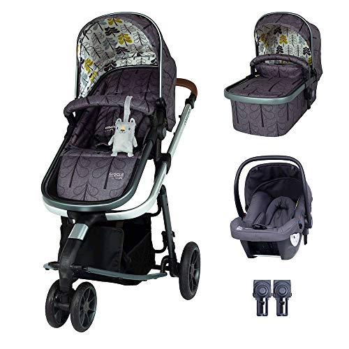 Cosatto Giggle 3 Pram Pushchair Travel System Bundle – from Birth to 18kg, Hold Car Seat & Adaptors, Fika Forest, Multi-Color