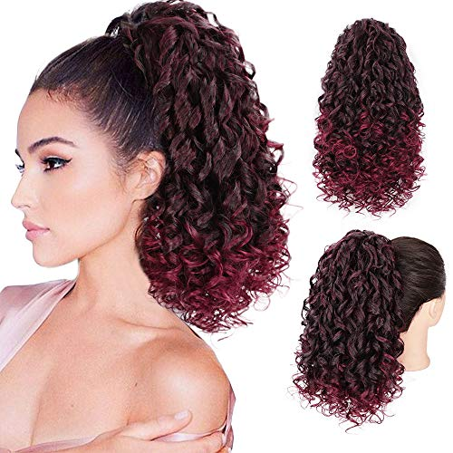 AISI BEAUTY Curly Ponytail Extension for Black Women Synthetic Curly Drawstring Ponytail Hair Pieces with 2 Clips in for Women (T1B/BUG)
