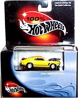 Hot Wheels 100% Cool Collectibles Series - 1970 Ford Mustang (Yellow) - Mounted in Plastic Display Case