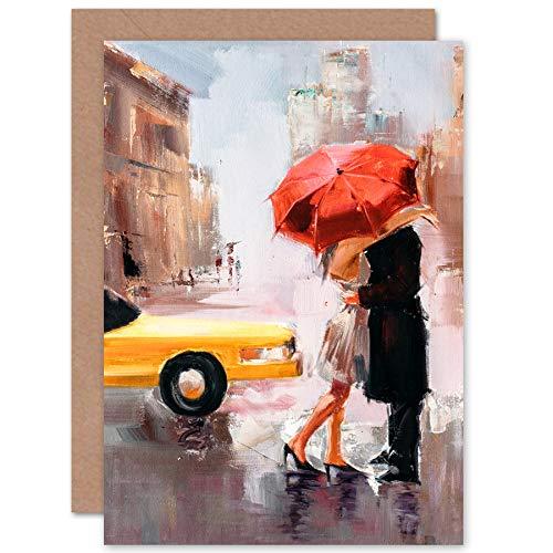 Fine Art Prints mensen kussen paraplu stad wenskaart met envelop binnen premium kwaliteit