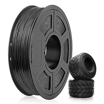 TPU Filament 1.75mm, SUNLU TPU 3D Printer Filament, Flexible Filament 1.75, Dimensional Accuracy +/- 0.03mm, 0.5kg Spool, 1.75 TPU Black