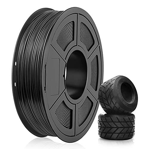 Filamento TPU 1.75mm, SUNLU TPU Filamento Stampante 3D, Flessibile Filamento 1.75, Precisione Dimensionale +/- 0.03mm, 0.5kg Spool, 1.75 TPU Nero