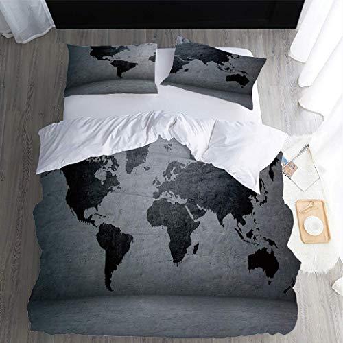XKALXO bettwäsche 155x220 cm Graue Weltkarte Bettbezug Weiche Mikrofaser mit Reißverschluss Bettbezüge - 1 Bettbezug + 2 Kissenbezüge 80x80cm