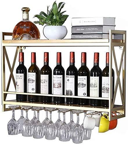 Wijnrek, ijzer, flessenrek, wand, drie eenvoudige vakken kunnen aan een onderste deel van Takagi, worden gebruikt in de moderne woonkamerfles 12/16, 12/16 kopjes. 80 * 20 * 52cm