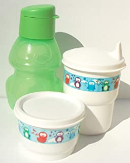 Tupperware Green Frog Mini Sports Bottle Eco Animals Snack Cup Sippy Tumbler Set