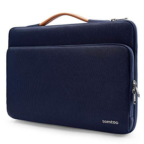 tomtoc Laptop Aktentasche Hülle kompatibel mit 12,3 Zoll Surface Pro, Neu MacBook Air 13 Zoll Retina A1932, Neu MacBook Pro 13 Zoll A2159 A1989 A1706 A1708, Dell XPS 13 Tasche Tragetasche Dunkel Blau