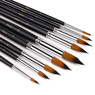 Watercolor Brushes - Artist Round Paint Brushes Set, 9 Different Sizes Detail Paint Brush for Watercolors, Acrylics, Inks, Gouache, Oil and Tempera - Free Painting Knife