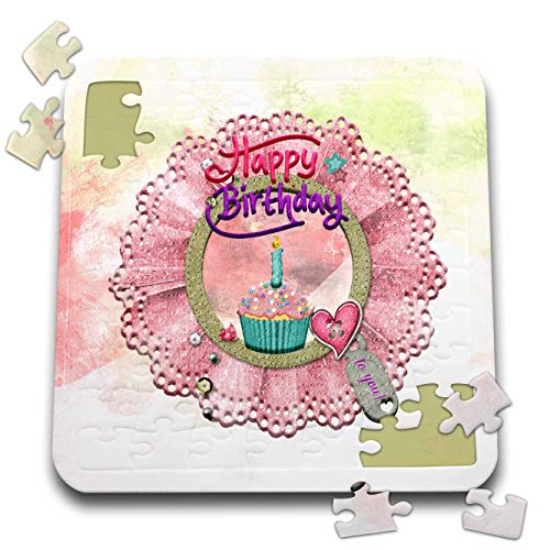 3dRose Image of Round Lace Frame, Happy Birthday, Cupcake, Heart and Candle - Puzzles (pzl_334389_2)
