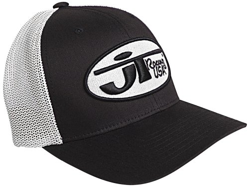 JT Racing USA Hat with Oval Logo (Black/White, Large/X-Large)