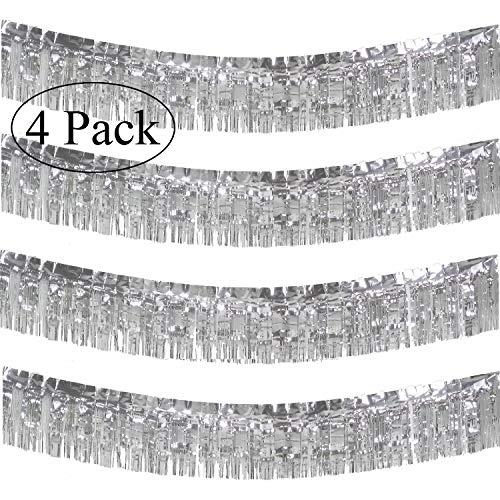 10 Feet Long Roll Silver Foil Fringe Garland - Pack of 4   Shiny Metallic Tassle Banner   Ideal for Parade Floats, Bridal Shower, Bachelorette, Wedding, Birthday   Wall Hanging Fringe Garland Banner