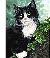 木の上の緑の猫。インチのブリキのサインヴィンテージ鉄の絵の金属板の個性ノベルティ