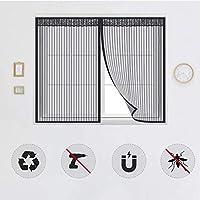 窓用磁気蚊帳、自己接着ネットカーテン、防虫磁気窓保護ネット、閉じて取り外し可能、ほとんどのタイプの窓やドアに適しています-140x220cm(55x87inch)