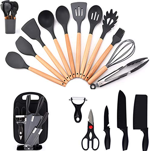 Nuloofen Kitchen Utensils Sets 12PCS Silicone Cooking Utensils Sets with Holder 7PCS Kitchen Knife Set Carbon Stainless Steel Chefs Knives Set With Non-Stick Coating Ergonomic Handle Kitchen Gadgets