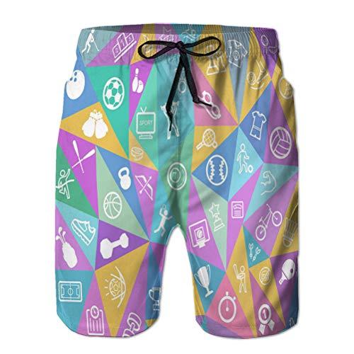 jiilwkie 3D Print Men's Summer Holiday Quick-Drying Beach Shorts Sport Icons XL