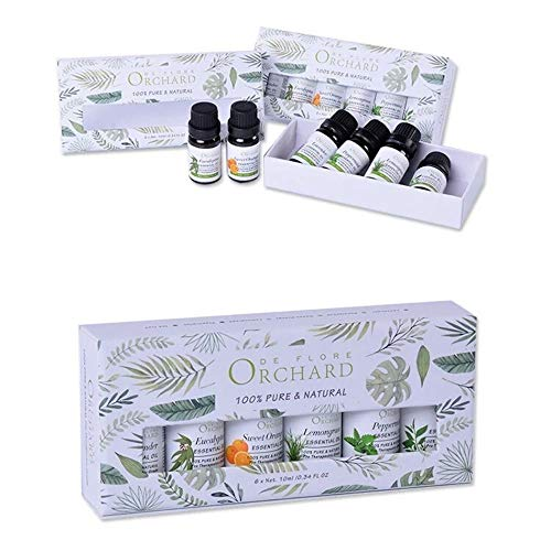 Essential Oil 100% Pure Therapeutic Grade, for Aromatherapy, Oil Burner, diffusers, Perfume Oil kit : Lavender, Orange, Peppermint, Eucalyptus, Lemongrass, Tea Tree. Gift Set 6 x 10 ml
