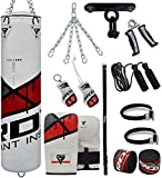 RDX 4PC Sac de Frappe 4FT 5FT Rempli Lourd Punching Ball MMA Muay Thai Kickboxing Arts Martiaux Kit Boxe Avec Gants Chaine Suspension support Plafond Punching Bag