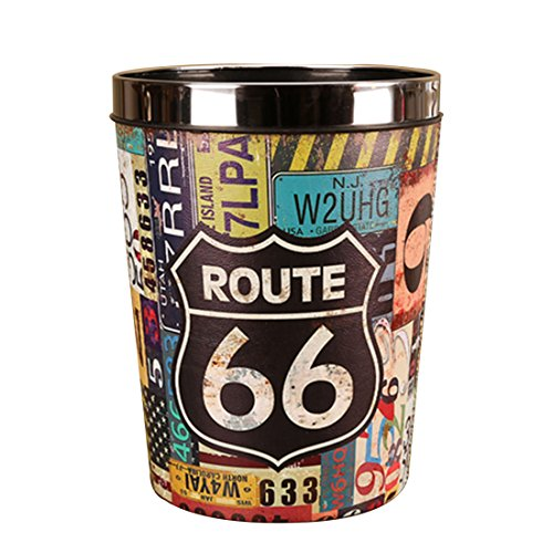 LVPY Papierkörbe, Vintage Papierkörbe Wasserdicht Groß PU Leder Abfalleimer Mülleimer Mülltonne Papierkorb mit Metall Preßring- 66 Route