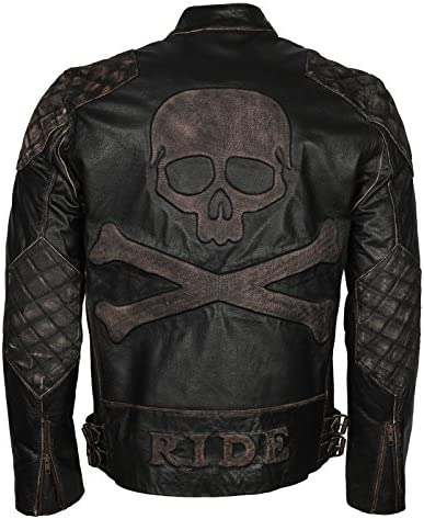 Skull Embossed Vintage Black Biker Leather Jacket for Mens 2XL to fit Chest 48 49 product image
