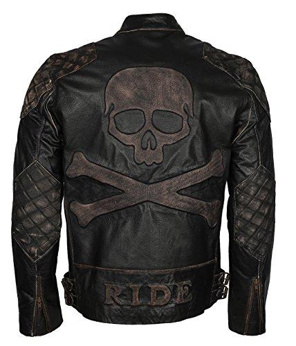 """Skull Embossed Vintage Black Biker Leather Jacket for Mens (2XL - to fit Chest 48-49"""")"""