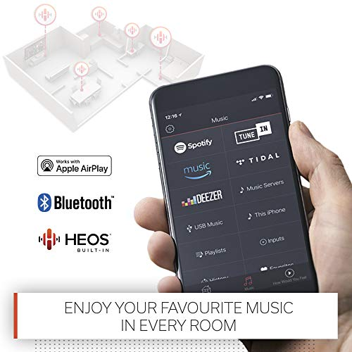 Denon AVR-S650H 5.2 Channel AV-Receiver, HiFi Amplifier, Alexa Compatible, 5 HDMI Inputs, 4K, Dolby Vision, Bluetooth, Music Streaming, AirPlay 2, HEOS Multiroom