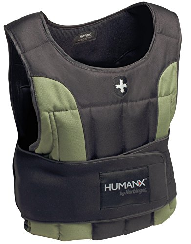 Harbinger HumanX 20-Pound Weight Vest, One Size, Black/Green