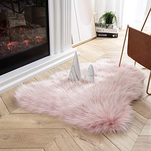 Ashler Faux Fur Rug Soft Faux Peacock Fluffy Rugs Luxurious Carpet Rugs Area Rug for Bedroom, Living Room Carpet Pink 2 x 3 Feet