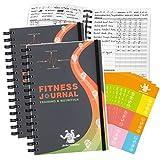 Bridawn Journal d'entraînement de Sport 2pc Nutrition Journal de Fitness avec Couverture Imperméable et Sangle élastique Autocollants Gratuits Workout Fitness Journal pour l'exercice Quotidien et le