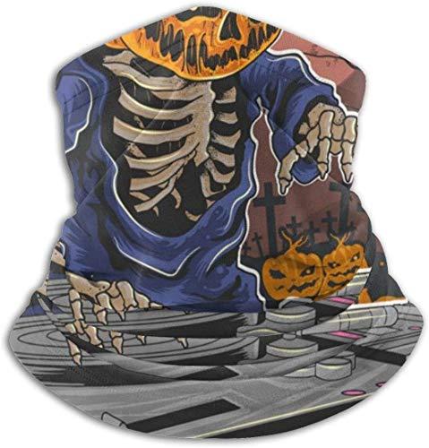 YJWLO Halswärmer für Halloween, Kürbis, Zombie, DJ, Musik, atmungsaktiv, winddicht, Anti-Staubflecken Einheitsgröße Schwarz