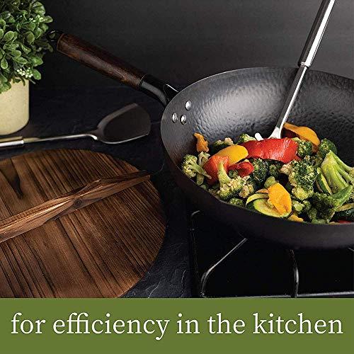 XJMXLL Wok de acero al carbono Wok de acero inoxidable sartén antiadherente con tapa compatible con inducción resistente a los arañazos, adecuado para el hogar, la cocina, el comedor