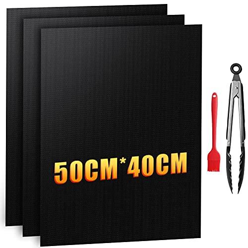 Zenoplige Grillmatte 50X40CM BBQ 5-Teiliges Set, PTFE-Glasfaserbeschichtung 100% Antihaft PFOA-Freie Wiederverwendbar Grillmatten gasgrill für bis 260°C/500℉