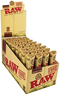 RAW CONES ORGANIC HEMP PRE ROLLED KING SIZE 3 CONES PER PACK UNFLAVORED FLAVOR PACK OF 32