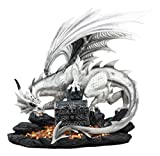 Ebros Large 20' Long White Cloud Dragon Guardian of Treasure Mine Statue with Secret Jewelry Treasure Chest Druid Dwarf Guardian Dungeons and Dragons Figurine LOTR GOT The Hobbit Themed Sculpture