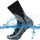 SuMade Waterproof Socks for Hiking, Boys Youth Dry Fit Thick Rocky Socks Breathable Cushioned Outdoor Crew Neoprene Socks Support Cycling Wading Socks Rain Boot 1 Pair (Black&Grey, X-Small)