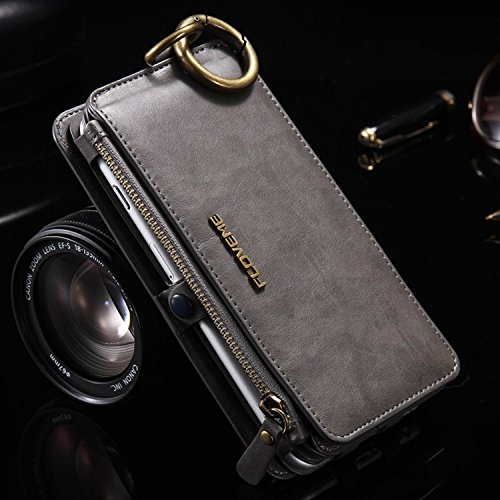 floveme cases for iphone 5s FLOVEME Luxury Retro Wallet Phone Cases iPhone 7 6 6s Plus Cover Leather Handbag Bag Cover iPhone X 7 6 6s 5S Case Coque (Grey/China iPhone 7 8 Plus)