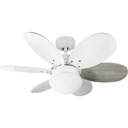 Wonderlamp Ventilateur de plafond avec lumière Tauro, 1 x E27, max. 60 W, 3 vitesses, pales réversibles blanc ou gris, été/hiver.