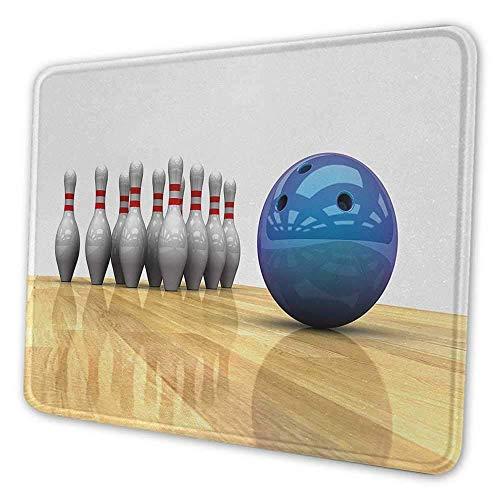 Bowlingparty Ergonomisches Mauspad Lebendige Objekte Kugel und Stifte auf einem Parkett Bodenparty-Party-Setup Personalisiert Ihr Gaming-Mousepad Blau Hellbraun Weiß