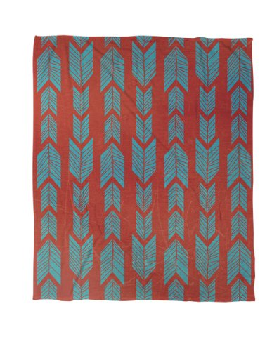 Manual Woodworkers & Weavers Coral Fleece Throw, 60 by 80-Inch, Featherwood Turquoise