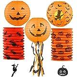GeeRic Calabaza Halloween Linternas de Papel Portátil Luz de la 5 linternas de Calabaza Decoraciones de Fiesta Lámparas de Linterna Decorativas Juego de Papel Jack-O'-Lantern Negro + Naranja