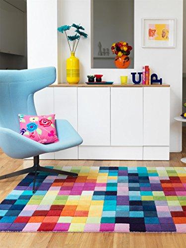 Benuta Wollteppich Funk Boxes Multicolor 90x150 cm | Naturfaserteppich für Wohnzimmer und...