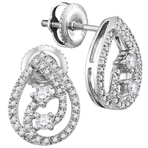 Pendientes de oro blanco de 10 quilates con diamante redondo de 2 piedras con cierre de rosca 1/4 de...