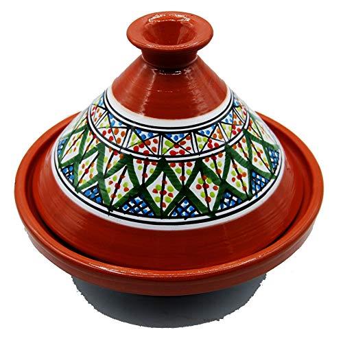 Etnico Arredo Tajine Pentola Terracotta Piatto Decorato Marocchino Tunisino XL 32cm 2910201131