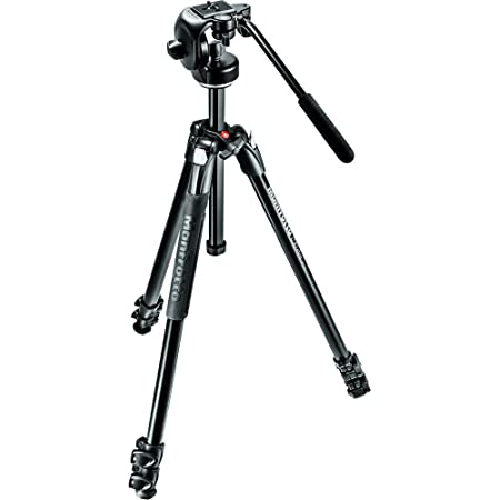 Manfrotto 290 Xtra Aluminum 3-Section Tripod Kit with Fluid Video Head (MK290XTA3-2WUS),Black