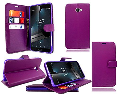 Funda de piel con tapa para Vodafone Smart Ultra 7, color negro, piel sintética, Cartera Libro Púrpura, Vodafone Smart Ultra 7