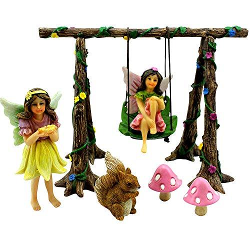 Anjing Mall 8 Stück Feengarten Miniatur Feen Ornamente Fee Schaukel Set mit Eichhörnchen Pilzen