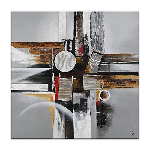 World Art TW60145 Ästhetischer Webstuhl aus Holz Abstrakt Bild Acryl Gemälde auf Leinwand von Hand Dekoriert, Holz, 100x100x3.5 Cm