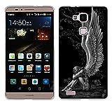 Huawei Ascend Mate 7 Hülle Case, Fubaoda [Müder Engel] Ultra Dünn Handyhülle Cover Soft Premium-TPU Durchsichtige Schutzhülle Backcover Slimcase für Huawei Ascend Mate 7