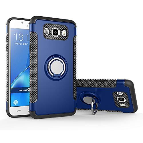 stengh Funda para Samsung SM-J320AZ Galaxy Amp Prime/SM-J320V Galaxy J3 V 2016/SM-J320VPP Galaxy J3 2016 SM-J320ZN SM-J320F + soporte de anillo giratorio de 360 grados, color azul