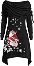 Aniywn Womens Foldover Neck Long Sleeve Pullover Sweaters Plus Size Ruched Long Sleeve Printing Christmas Tops