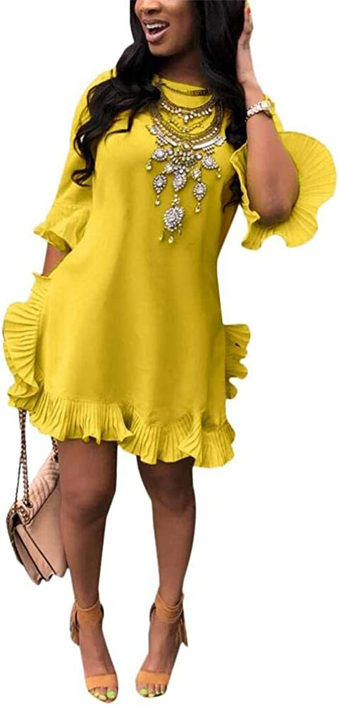 LKOUS Women Summer Short Sleeve Round Neck Ruffles Hem Loose Midi Mini Dresses Casual Plus Size